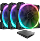 NZXT AER RGB 2 - 3-Pack of 120mm RGB PWM Fans with Hue 2 Lighting Controller - Advanced Lighting Customization - LED RGB PWM Fans - Winglet Tips - Fluid Dynamic Bearing - PC Case Fan