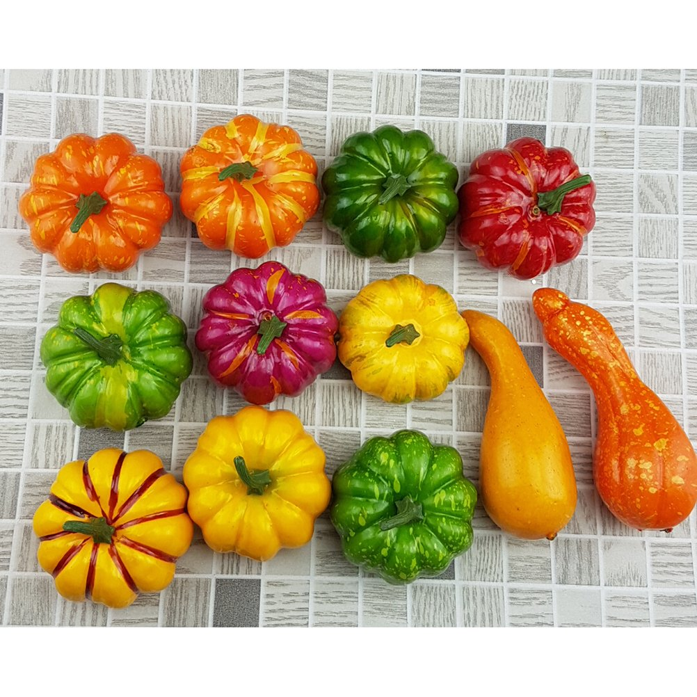 Artificial Mini Pumpkins and Gourds Fall Harvest Table Centerpiece (12 Pieces)