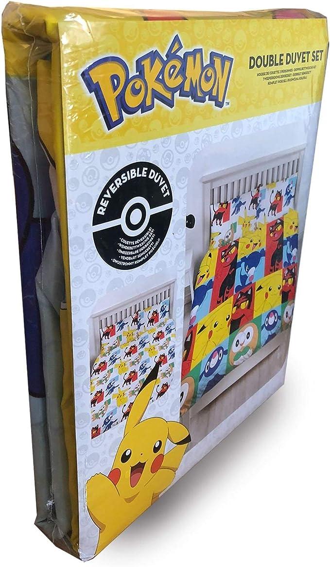 Incluye Fundas de Almohada a Juego. dise/ño Reversible de Dos Caras Juego de Funda de edred/ón Doble de Pokemon Newbies