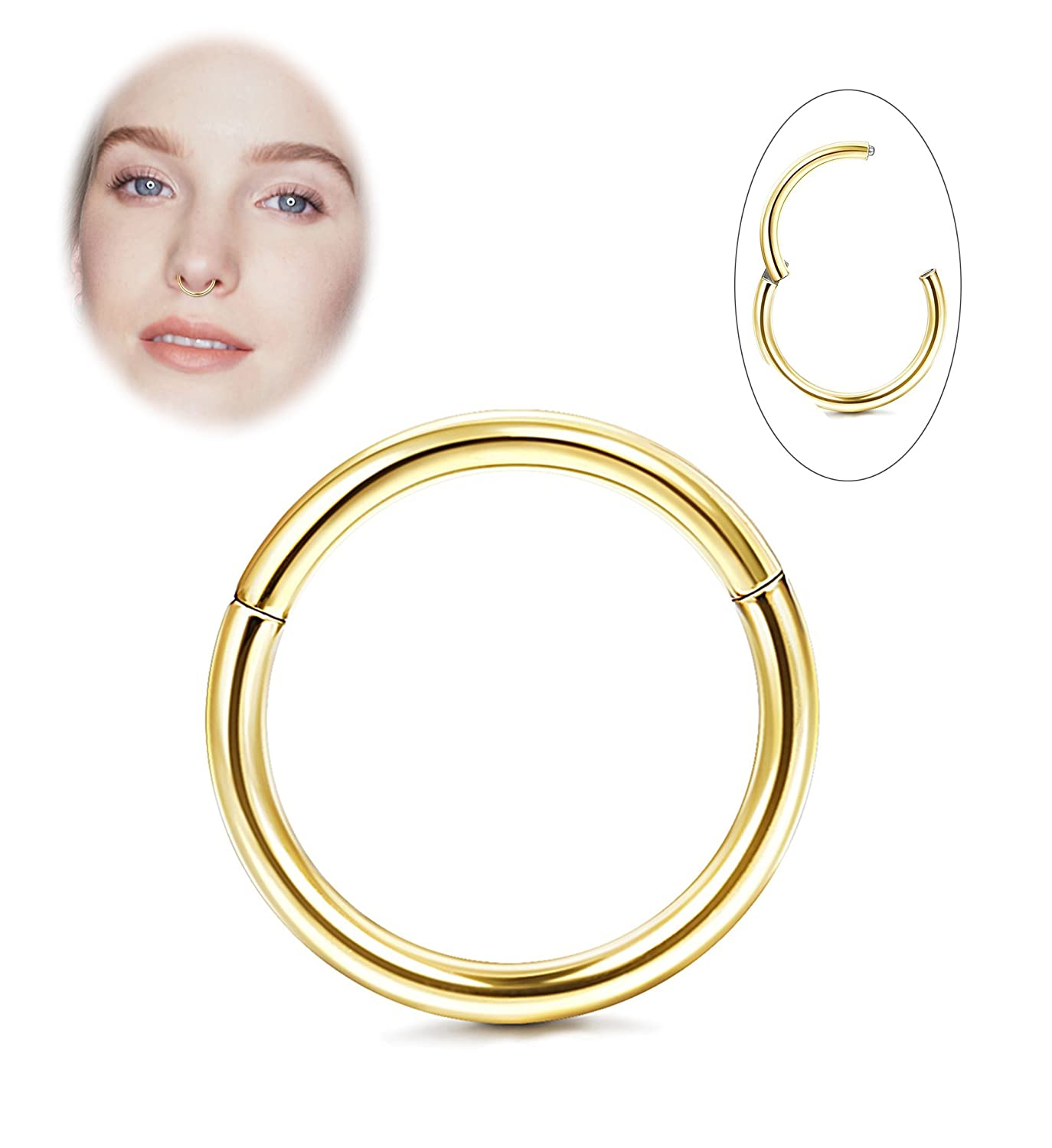 9b7463b0208fd Jstyle 316L Stainless Steel Improved Hinged Clicker Rings 18G Nose ...