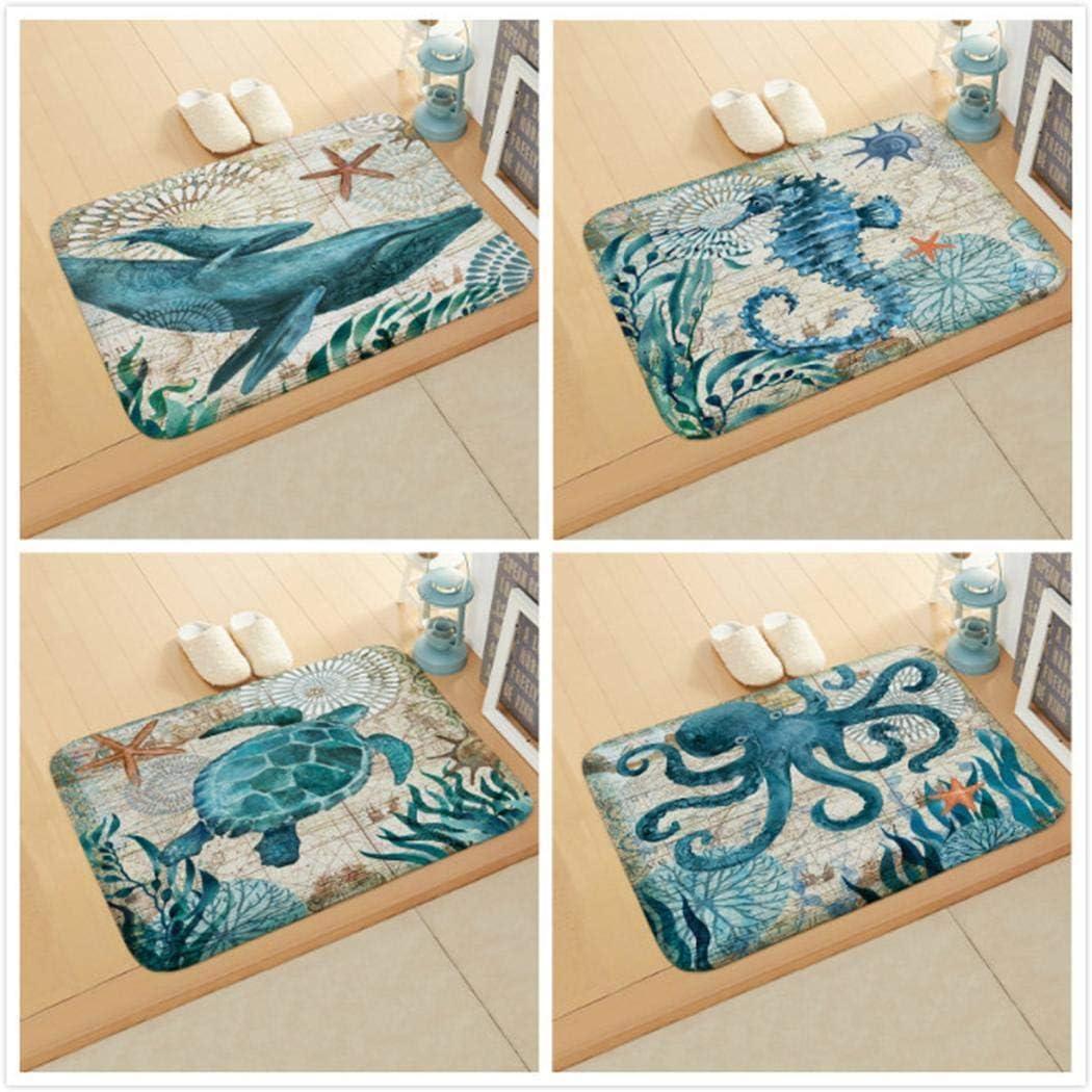 Chiak Floor Mat Print Octopus Door Mat with Hippocampus Pattern Bedroom Bathroom Home Sea Turtle Pattern Absorbent Non-Slip Carpet Mat Area Rugs