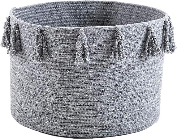 Zinsale Cuerda de algodón Cestos para la Colada Borla Robusta Lavable Cesto de lavandería Juguetes para bebés Cesta de Almacenamiento de contenedores 45x30cm (Gris): Amazon.es: Hogar