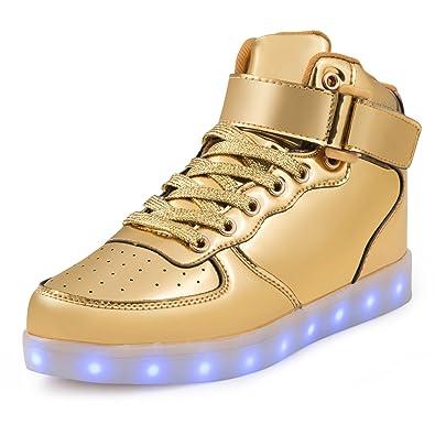 SAGUARO Herren Damen LED Sport Schuhe 7 Farbwechsel USB Leuchtend Sportschuhe Sneaker Turnschuhe, Hoch gold, 45EU