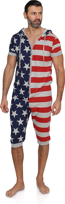 MJC Men's American Flag Stars and Stripes One Piece Pajama