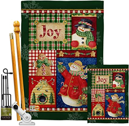 Breeze Decor Christmas Joy Snow Woman Garden House Flags Kit Winter Santa Marry Xmas Present Reindeer Season Wintertime Small Decorative Gift Yard Banner Made In Usa 28 X 40