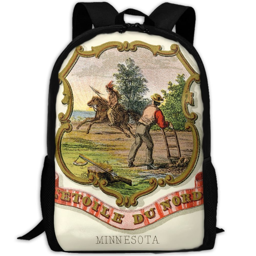 ZQBAAD Minnesota State Coat Of Arms Luxury Print Men And Women's Travel Knapsack