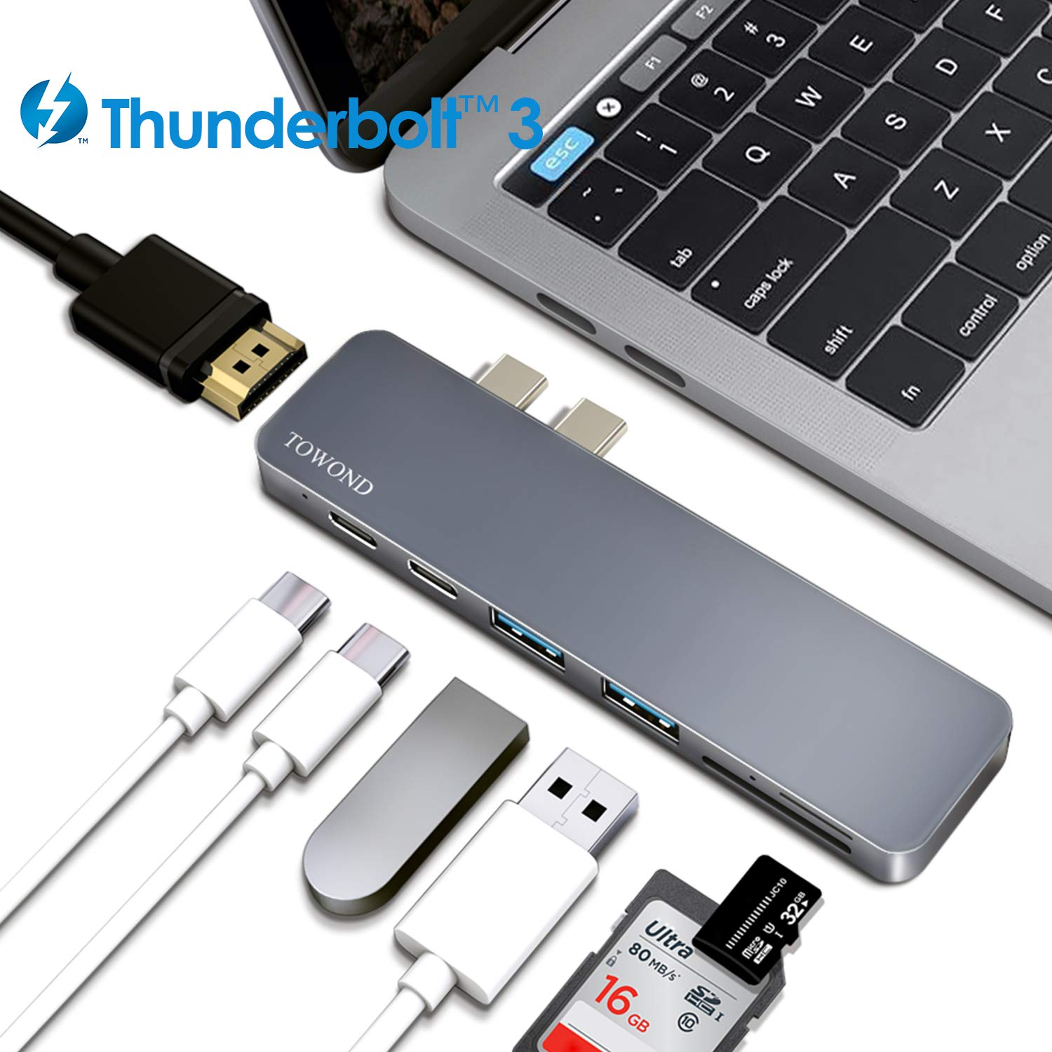 USB-C Hub, TOWOND 7-in-1 USB-C Adapter Dongle for MacBook Air 2019/2018, MacBook Pro 2019/2018/2017/2016,Type-C Hub with 4K HDMI, 40Gbps Thunderbolt 3 USB C Power Delivery,2 USB 3.0,SD/TF Card Reader