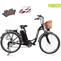 "NAKTO 26"" Adult Electric Bicycle for Women with High-Speed Brushless Motor, V Brake, Sporting Shimano 6-Speed Gear, Removable 36V 10A Lithium Battery Charger with Lock (Spark Black)"