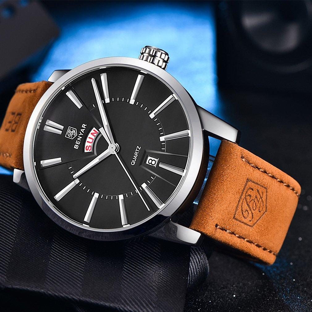 Amazon.com: BENYAR Classic Casual Elegant Business Watch,Sport, Waterproof, Brown Leather Band, Date,Quartz Mens Wrist Watches 5101M(Black): Watches