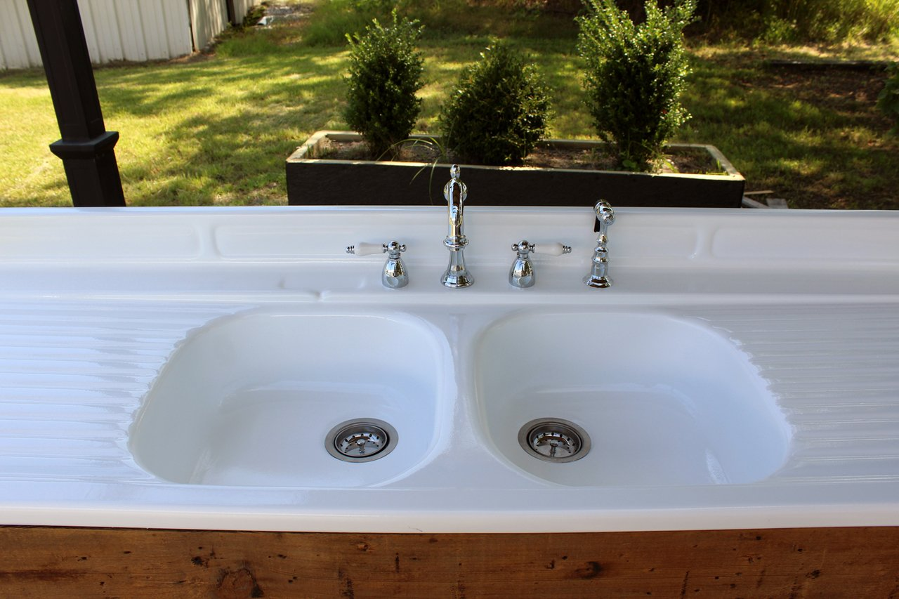 Amazon.com: Refinished Stamped Metal Double Drainboard Farm Sink ...