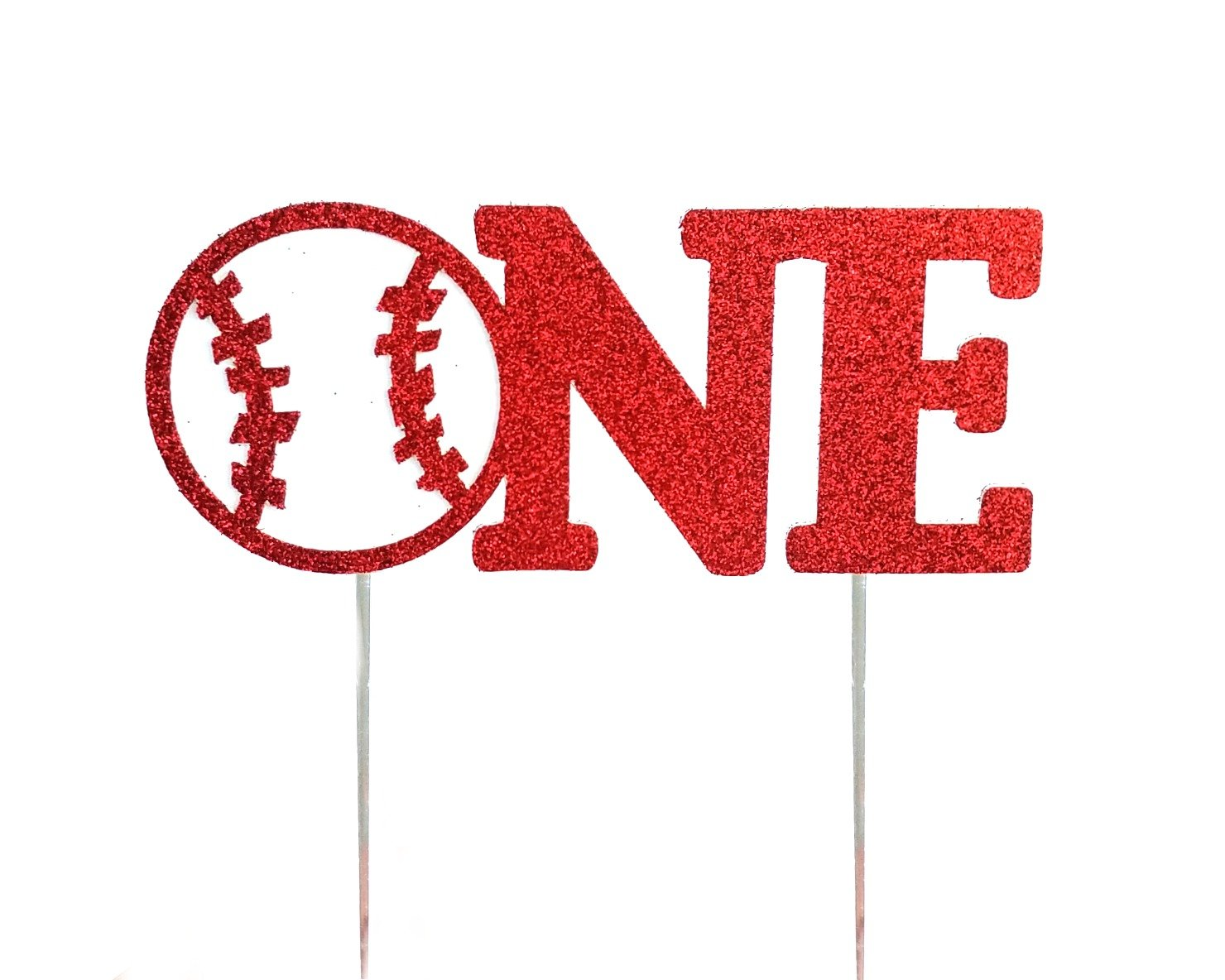 CMS Design Studio Handmade 1st First Birthday Cake Topper Decoration - one with Baseball - Made in USA with Double Sided Red Glitter Stock by CMS Design Studio