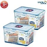 Lock & Lock Airtight Rectangular Tall Food Storage Container 64.25-oz / 8.03-cup 4pcs Set