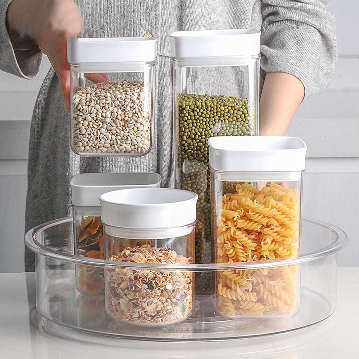 Lazy Susan Cabinet Organizer-12 Inch Turntable Round Clear Spinning Rotating Organization /& Storage Container Bin Plastic Condiments Spice Rack with Divider for Kitchen,Pantry,Fridge,Countertop Makeup