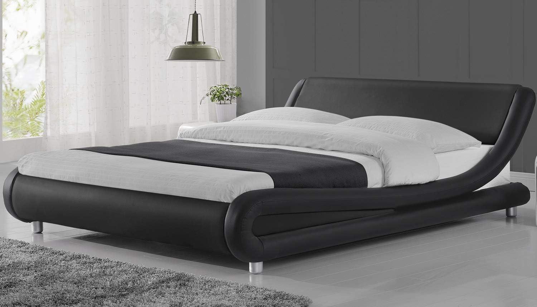 Amolife Upholstered Platform Bed King/Deluxe Solid Modern Bed Frame/Mattress Foundation/Faux Leather King Size Bed Frame with Adjustable Headboard and Wood Slat Support, Black