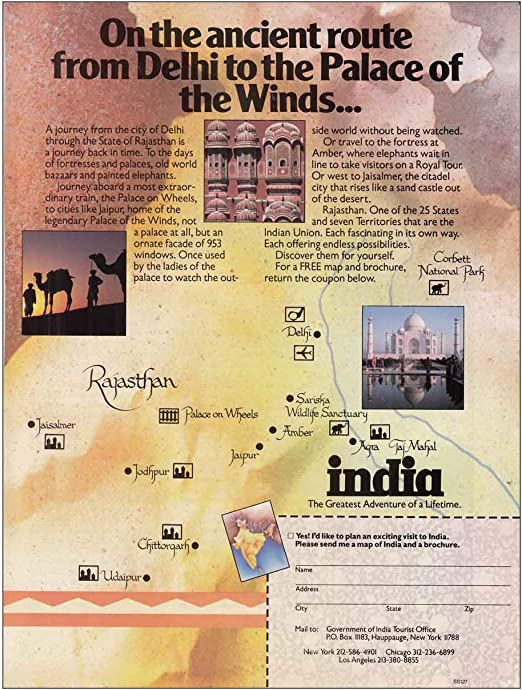 Amazon.com: 1987 India: Ancient Route, Delhi, Palace of Winds, India Tourism  Print Ad: Posters & Prints
