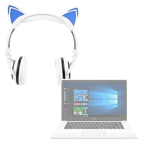 DURAGADGET Auriculares Plegables estéreo con diseño de Orejas de Gato en Color Blanco para Portátil Chuwi