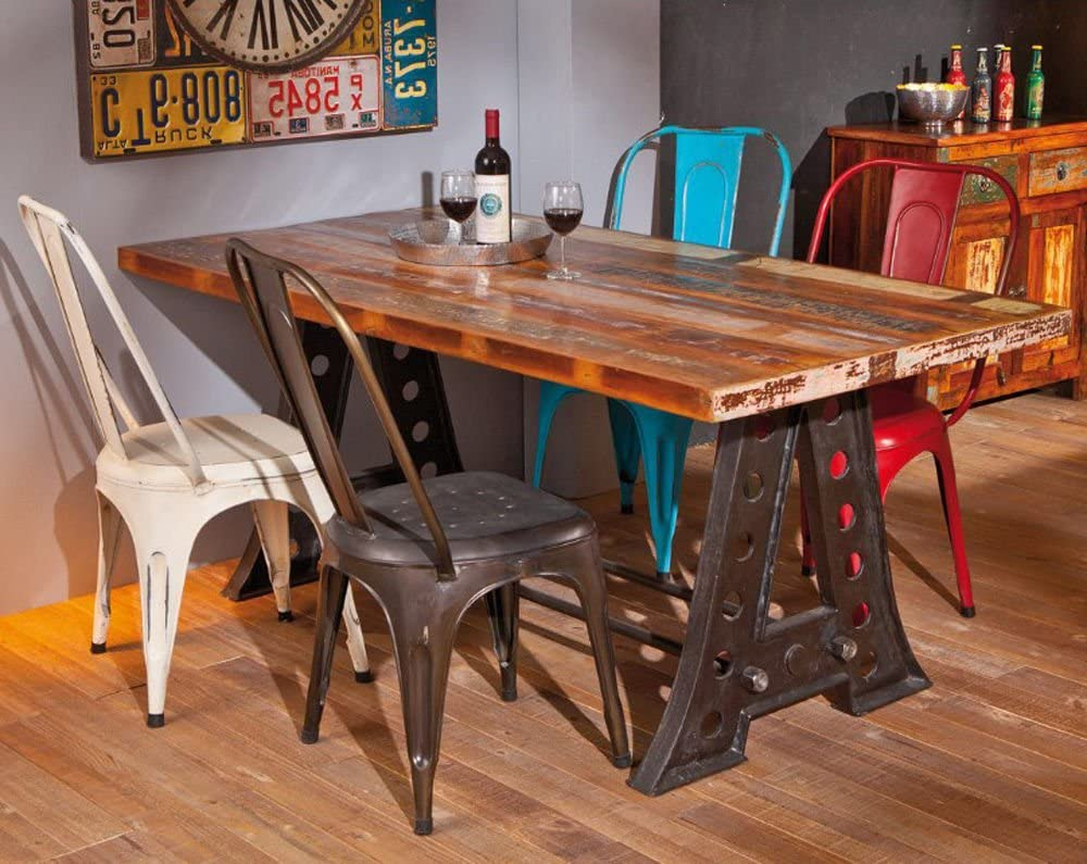 Industrial Dining Table Vintage Retro Rustic Style Antique Furniture Solid Reclaimed Wood Large Metal Steel Leg Wooden Urban Kitchen Room Brown Black Farmhouse Design Modern Rectangular 4 Seater Amazon Co Uk Kitchen Home