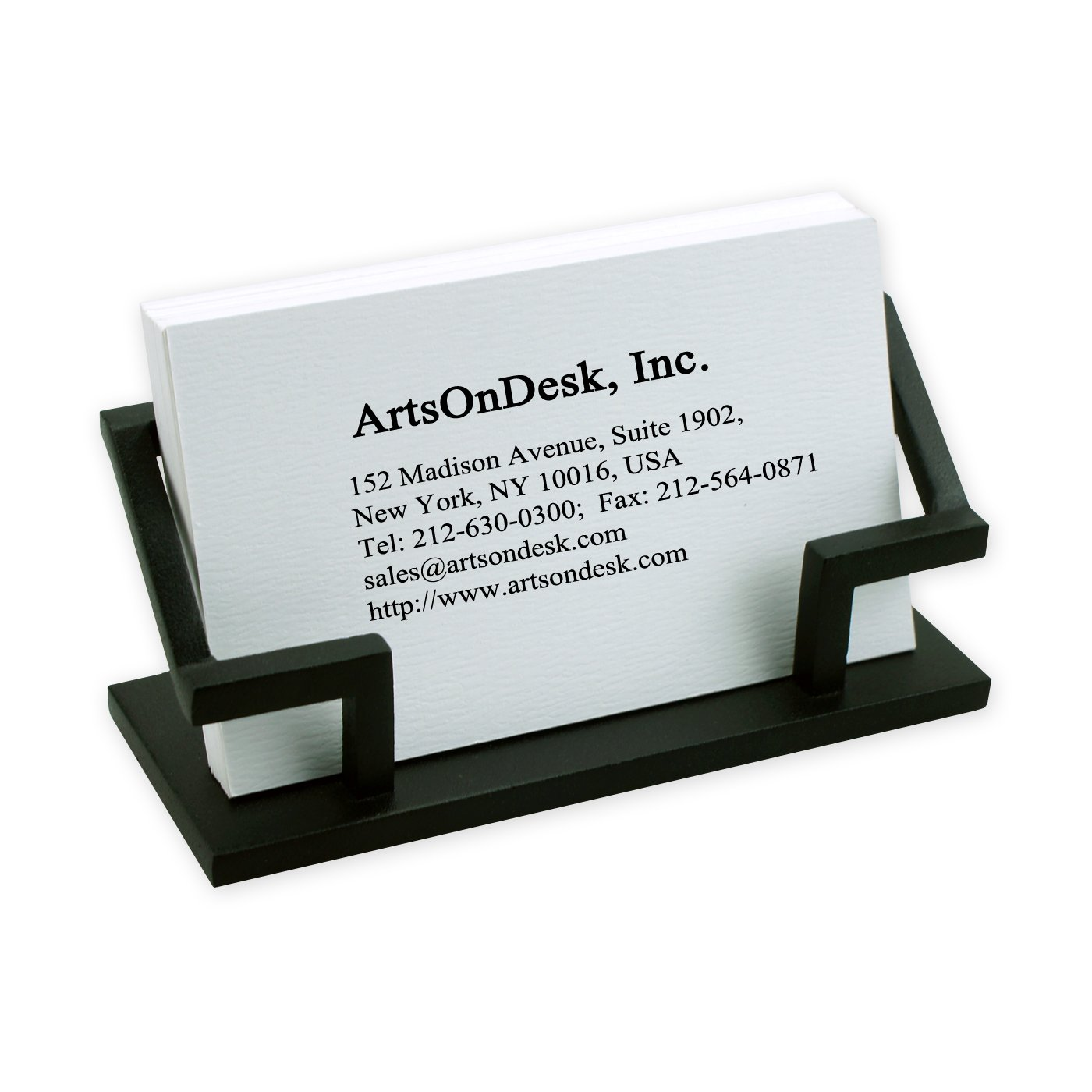ArtsOnDesk Modern Art Business Card Holder Bk301 Steel Black Patented Desk Accessory Name Card Stand Case Plate Display Office Organizer Christmas Gift Holiday Valentines Day Graduation Present