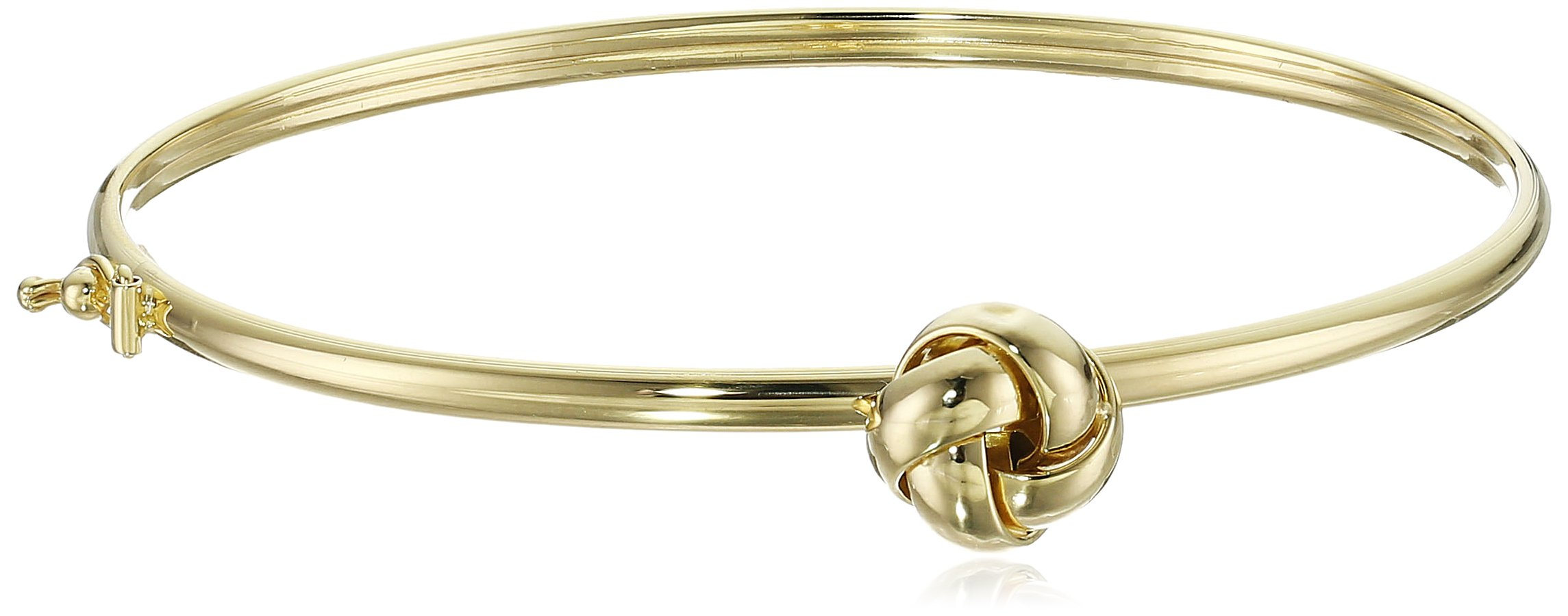14k Yellow Gold Love Knot Bangle Bracelet, 7.5''