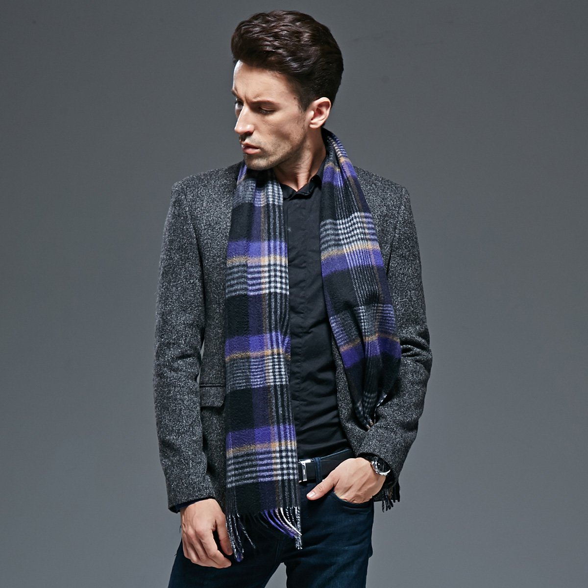 Autumn and winter men thick warm scarf Plaid Wool Cashmere Scarf
