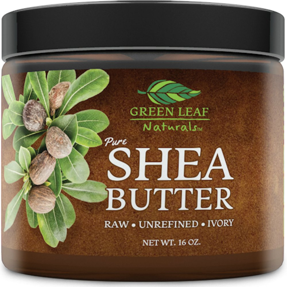 African Shea Butter - Raw Unrefined Organic - 100% Pure for Hair and Skin - Smooth and Creamy for DIY Recipes (16 oz) by Green Leaf Naturals