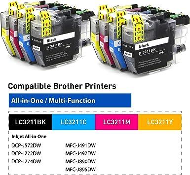 Obeno 2 Satzs Lc3211 Lc3213 8 Packs Tintenpatronen Für Brother Lc3211 Mfc J890dw Mfc J895dw Dcp J772dw Dcp J774dw Dcp J572dw 2 Schwarz 2 Cyan 2 Magenta 2 Gelb Bürobedarf Schreibwaren