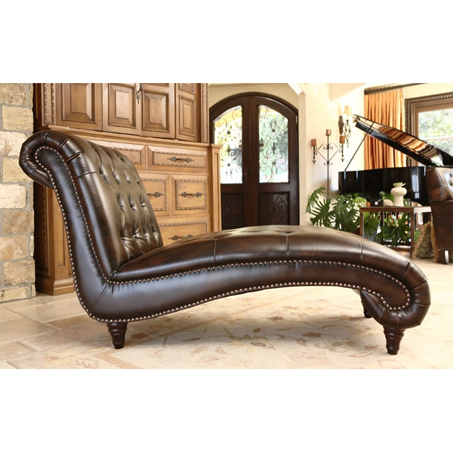 Amazon Abbyson Living Mirabello Chaise in Brown Kitchen & Dining