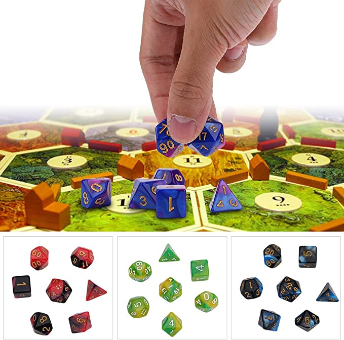 Alomejor Polyhedral Dice Set 7 Multiple Types for D/&D DND Dice Games RPG MTG Table Games