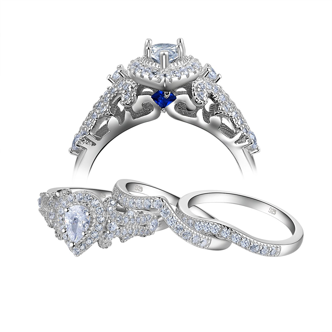 Newshe Wedding Engagement Ring Set For Women 925 Sterling Silver 3pcs 1.4Ct Pear White Cz Size 8