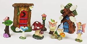 WorldWideSlides Mythical Miniature Fairy Garden 9-Piece Starter Set - Windmill - Outbuilding - Fairy - Gnomes Windsetville Community