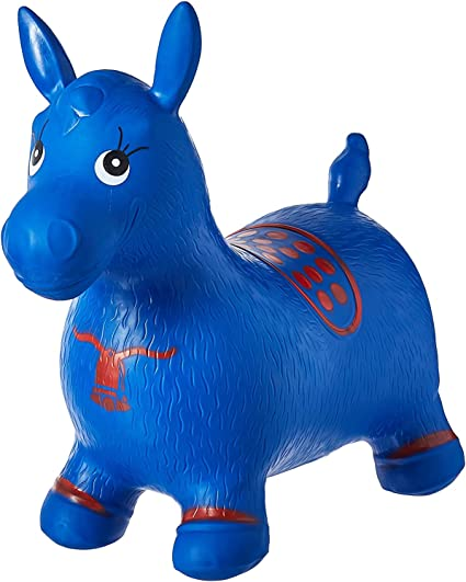 Boys and Girls Horse Hopper Bouncy Inflatable Animal Ride-on Toy for Children Toddlers Pump Included Blue
