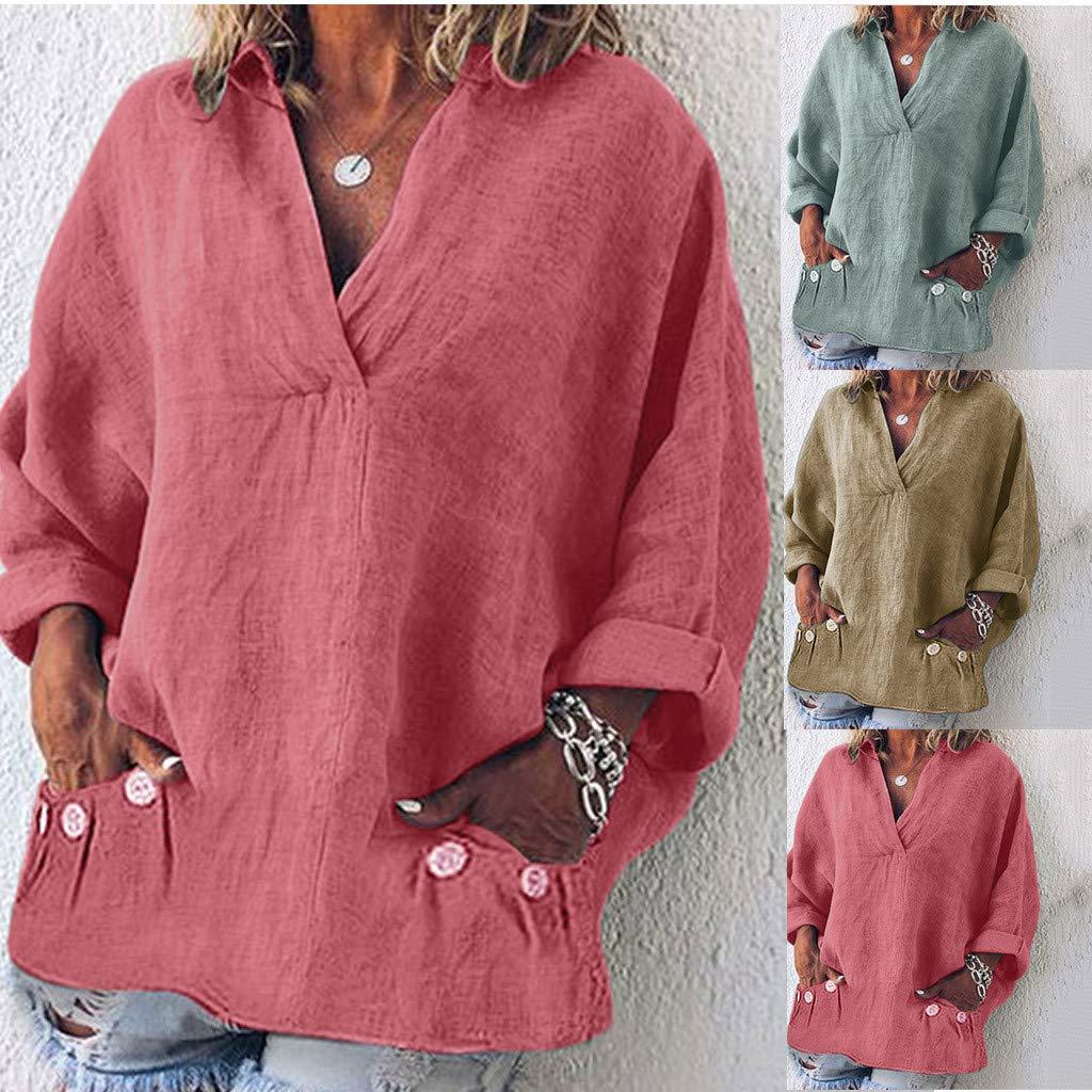 Amazon.com: QIQIU - Blusas de bolsillo de lino con cuello en ...