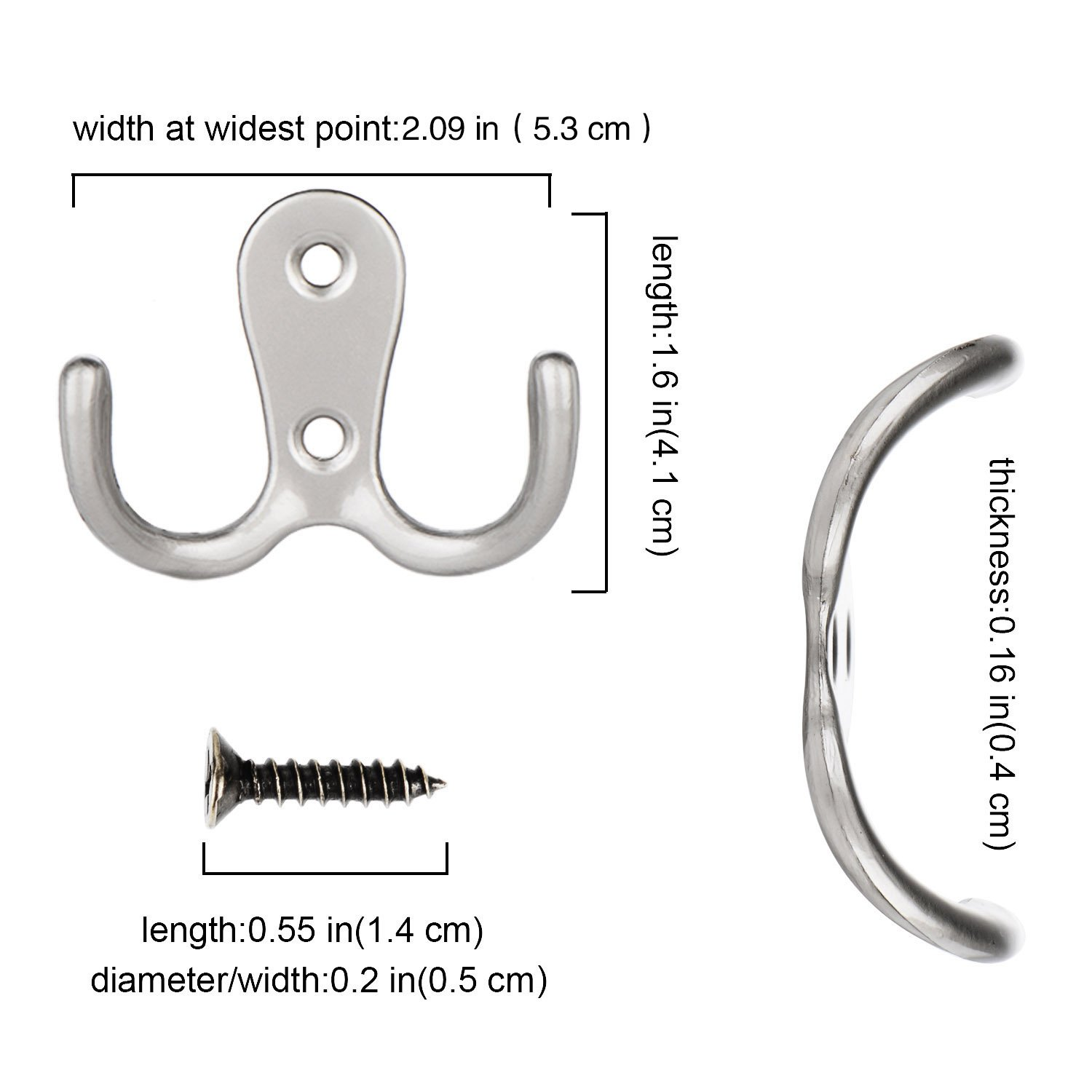 Silver eBoot 15 Pieces Double Prong Robe Hook Retro Cloth Hanger with 30 Pieces Screws COMINHKPR139091