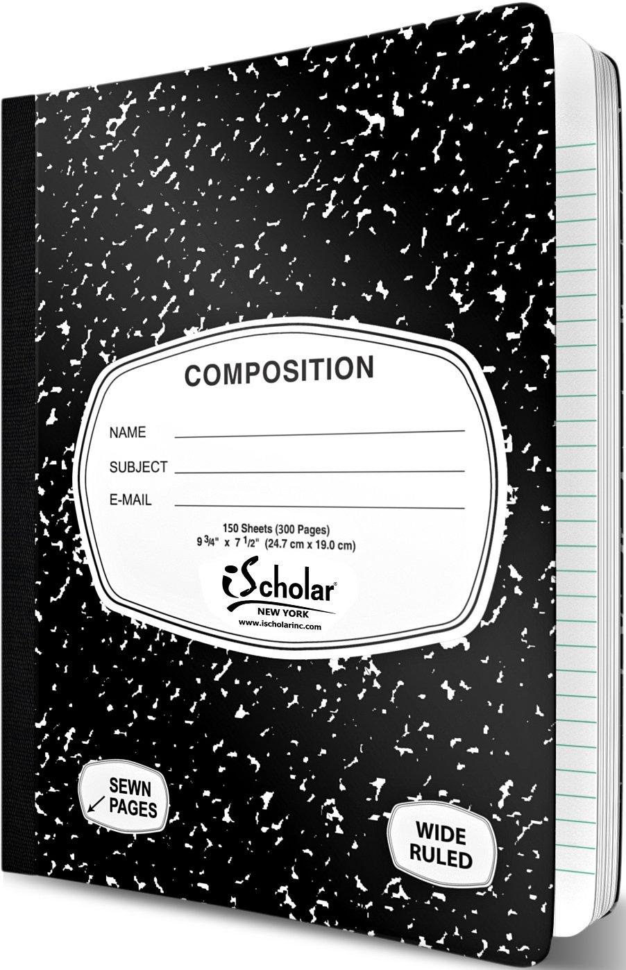 Ischolar schwarz und weiß Marmor breit liniert Zusammensetzung Bücher 150 Sheets schwarz   weiß