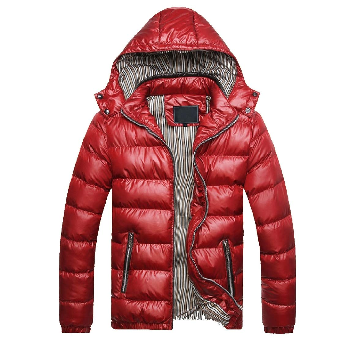 YUNY Men Hooded Cotton Relaxed-Fit Thickening Casual Down Coat Red M