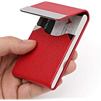 DMFLY PU Leather Business Card Holder for Women Leather Stainless Steel Business Card Case Professional Business Name…