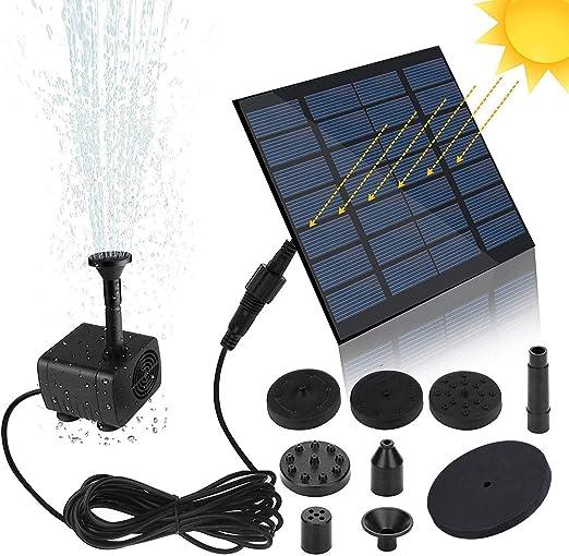 Bomba de fuente solar con 6 estilos de fuente para baño de pájaros, 1,5 W
