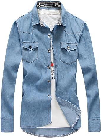 EKU para Hombre Hipster Casual Manga Larga Jeans Denim Camisas Doble Bolsillo: Amazon.es: Ropa y accesorios