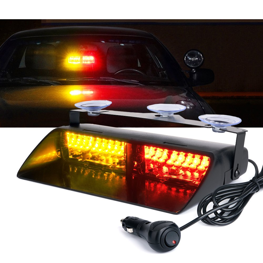 Xprite Amber Yellow 16 LED High Intensity LED Law Enforcement Emergency Hazard Warning Strobe Lights For Interior Roof//Dash Windshield With Suction Cups