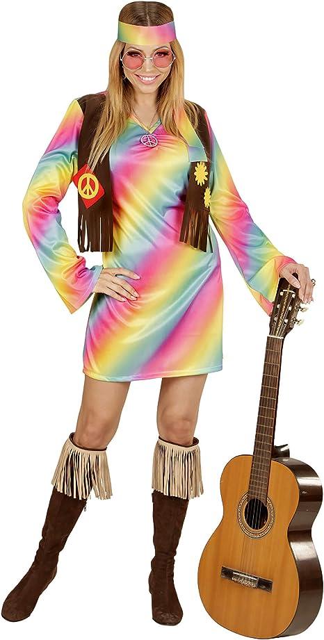 WIDMANN 73353 ? Adultos Disfraz Hippie Mujer, Vestido, angenähte ...