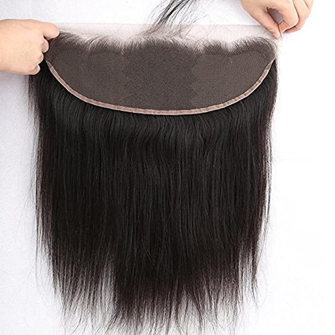 Sunniess Hair Virgin Brazilian Human Hair 13x4inch Straight Lace Closure 130% Density Free Part and Bleached Knots Lace Frontal With Baby Hair Natural Color (12inch)