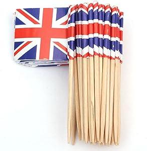 SHATCHI 11624 50 Union Jack British Sandwich Party Flag Food Cup Cake Cocktail Sticks Picks Decorations Royal Event