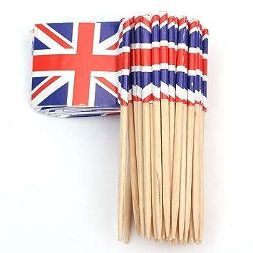 Ndier UK Flag Cocktail Sticks for Cakes Kit of 50 Pack Flag Picks