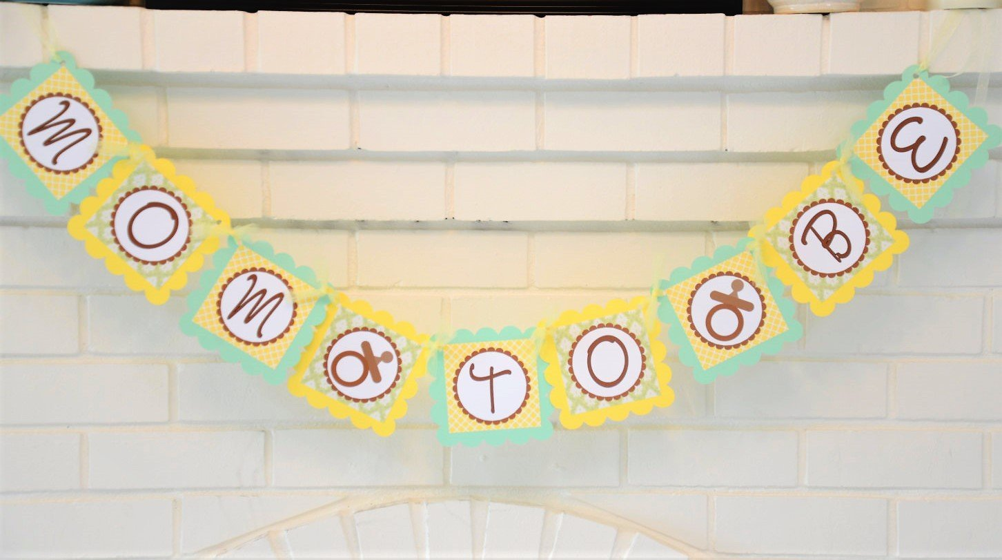 shower Mint Green and Yellow Mom To Be Pacifier Baby Shower Banner Pacifier Baby Shower Decorations in Yellow and Mint Green Customizable Mom To Be Baby Binky Banner