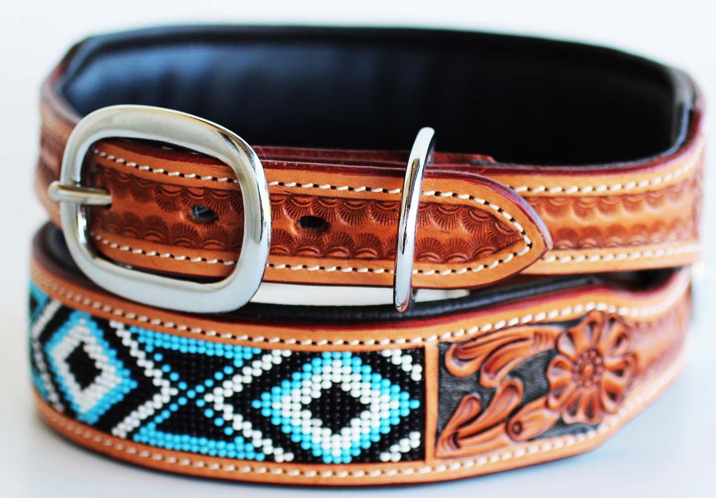 Amish Hand Tooled 100% Cow Leather Canine Puppy Dog Collar Soft Adjustable 6058