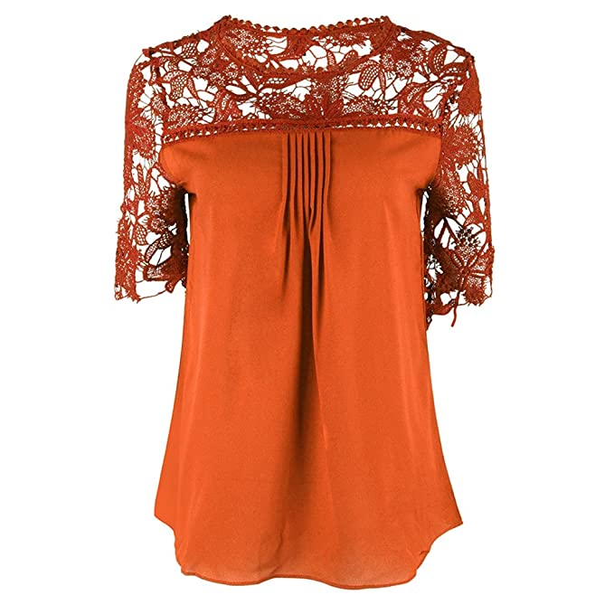 Mujeres Casual Elegante Camisas Tops Camiseta Escote Mangas Cortas Blusa Encaje XL naranja