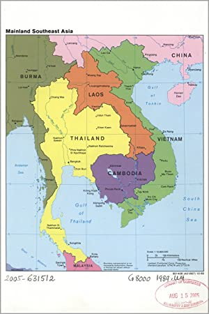 Carte Thailande Cambodge Vietnam.Poster 61 X 91 Cia Carte Vietnam Laos Cambodge 1989 Ancien