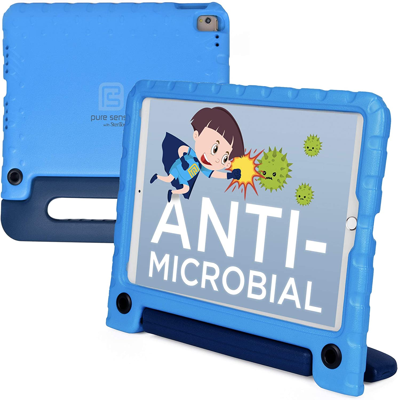 Pure Sense Buddy [Anti-Microbial Kids Case] for 2020/2019 10.2 iPad (8th & 7th Gen), iPad Pro 10.5, iPad Air 3 | Full Kit: Cover, Strap, Spray (Blue)