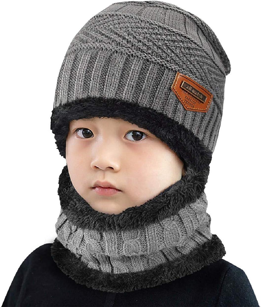 Tuopuda Sciarpa e Beanie Bambini Unisex Sciarpa Bambino Inverno Caldo Sciarpa Cappelli Invernale Bambini Beanie Bambino