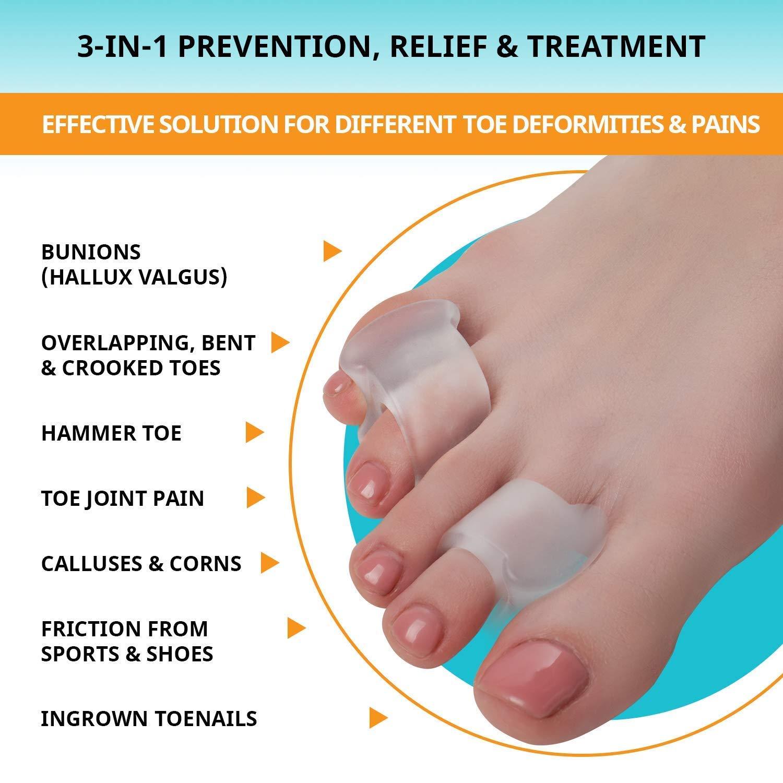 7e9c9e79 Amazon.com: Toe Separators Hammer Toe Straightener - 4-Pack Big Toe Spacers  - Gel Spreader - Correct Crooked Toes - Bunion Corrector and Bunion Relief  ...